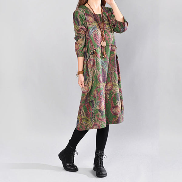 Women Print Cotton Loose Autumn Dress