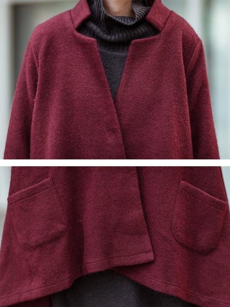 Wine Red Loose Wool Jacket