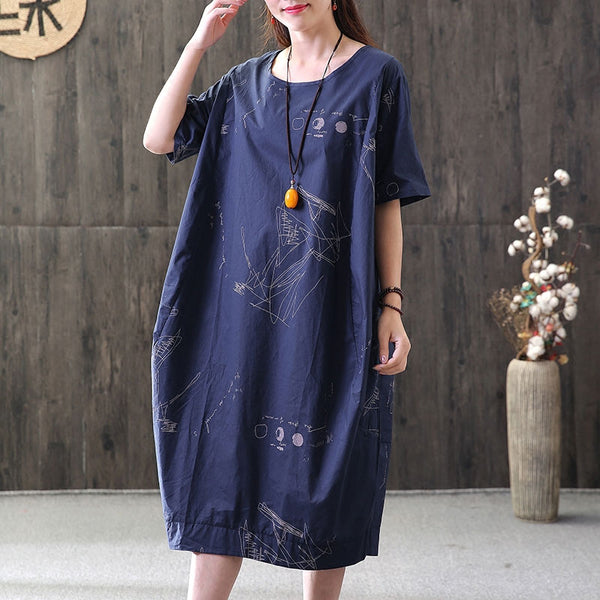 Summer Printed Round Neck Short Sleeve Navy Blue Dress