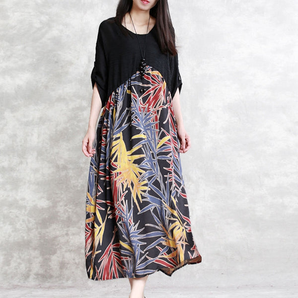 Splicing Casual V Neck Half Sleeve Printed Dress - Buykud