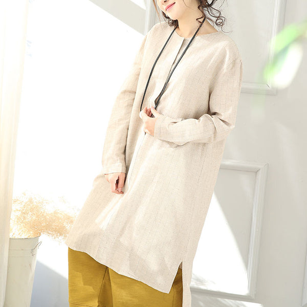 Round Neck Linen And Cotton Stripe Beige Long Shirt