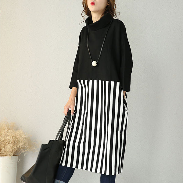Cotton Striped Loose Knit Dress