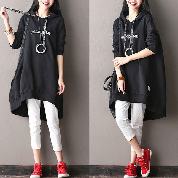 Hooded Printing Casual Bat Sleeves Pullover