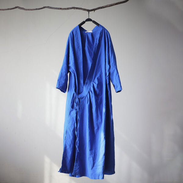 Casual Women Loose Lacing Three Quarter Sleeve Blue Dress Outside Wear - Buykud
