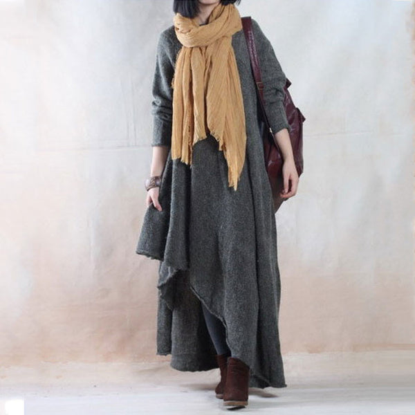 Autumn Winter Soft Loose Sweater Dress Gown - Buykud