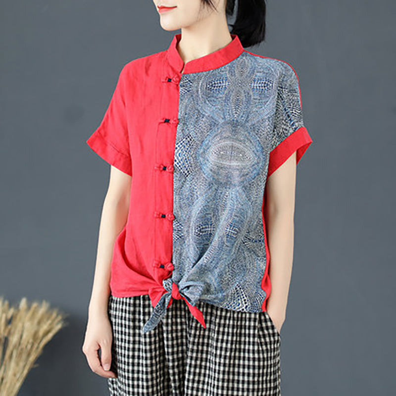Women Summer Patchwork Single Breasted Linen Shirt