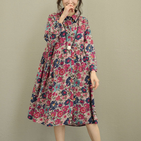Autumn Printing Floral Long Sleeve Dress For Women - Buykud
