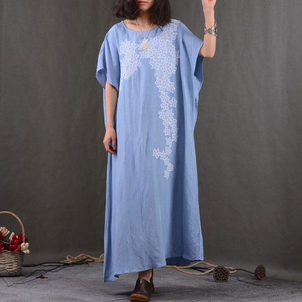 Embroidered Bat Sleeves Linen Maxi Dress - Buykud