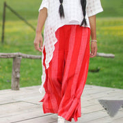 Fashion Design Red Stripe Literature Elastic Women Wide Leg Pants - Buykud