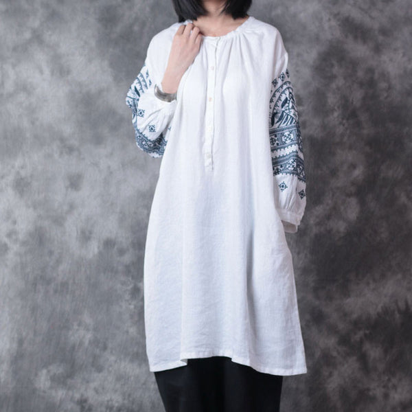 Straight Women Linen Round Neck Embroidered Loose Shirt