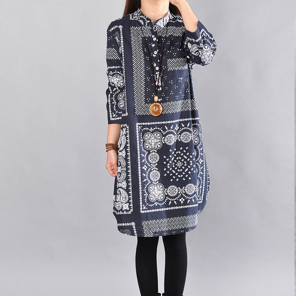 Spring Retro Printing Long Sleeve Dress