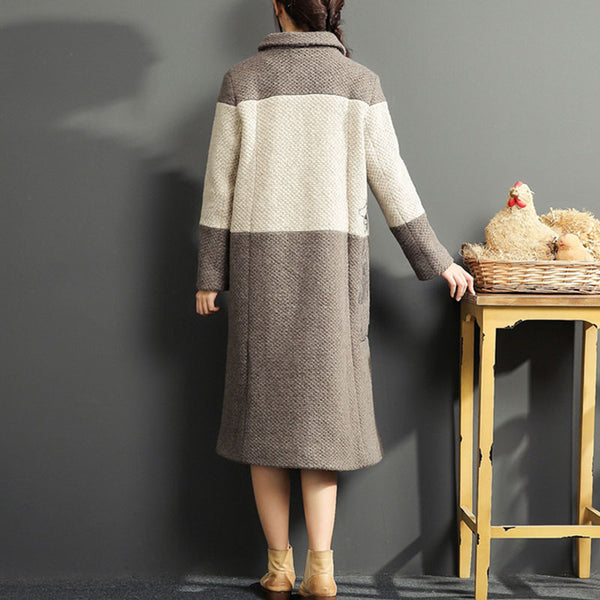 Color Matching Loose Apricot Overcoat - Buykud