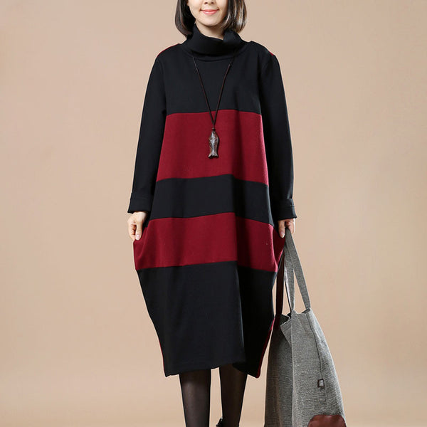 Autumn And Winter Turtleneck Cotton Red Dress