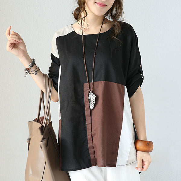 Linen Round Neck Casual Loose Splicing Shirt