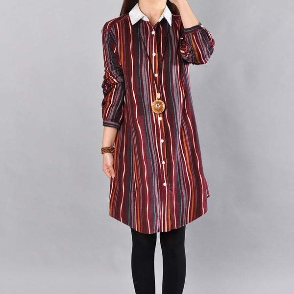 Women Stripe Long Sleeves Red Long Shirt