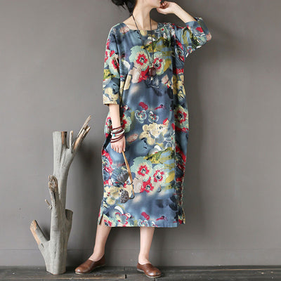 Floral Printed Women Square Collar Three Quarter Sleeve Dress - Buykud