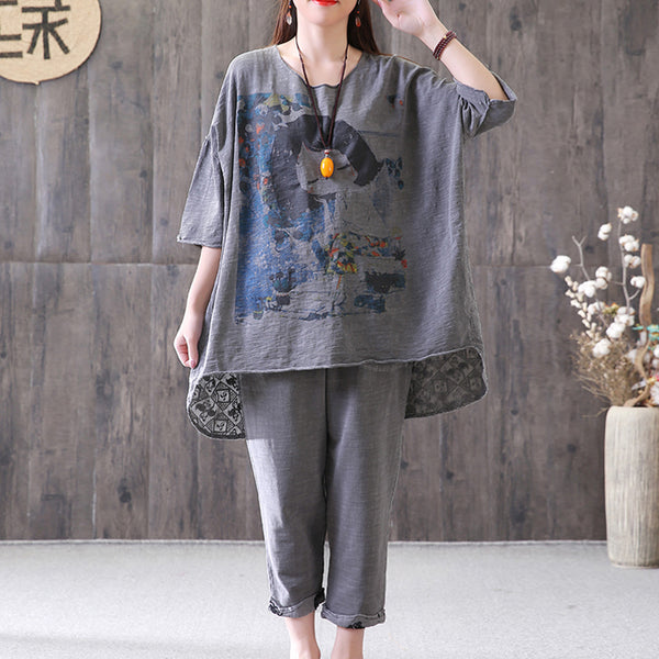 Loose Gray Casual High-Low Hem Summer Suit