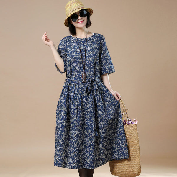 Printing Retro Round Neck Floral Dress - Buykud