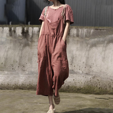 Retro Women Rompers Loose Flax Cotton Jumpsuit - Buykud