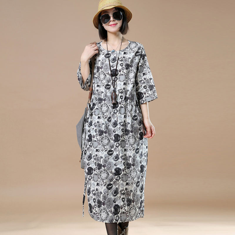 Round Neck Loose Casual Printing Gray Dress - Buykud