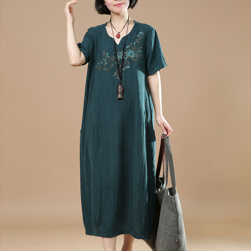 Summer Casual Jacquard Short Sleeves Green Dress - Buykud