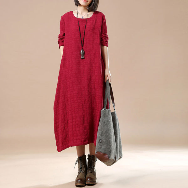Irregular Autumn Casual Long Sleeved Dress - Buykud