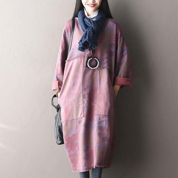 Printing Loose Hooded Dress