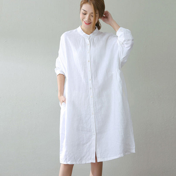 Linen Stand Collar Loose Dress