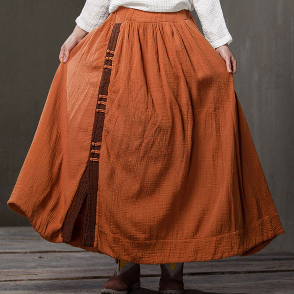 Spring And Summer Loose Linen Orange Skirt