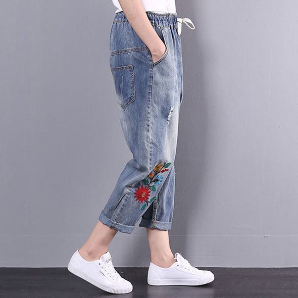 Embroidery Summer Denim Pockets Casual Flower Pants