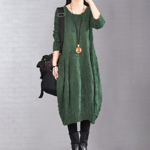 Autumn Distressed Long Sleeve Women Green Dress - Buykud