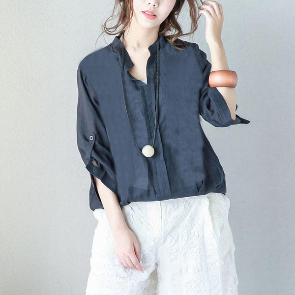Simple Button Three Quarter Sleeves Women Navy Blue Shirt - Buykud