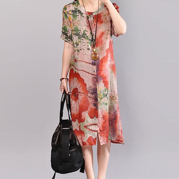 Women Printed Round Neck Short Sleeve Flax Dress