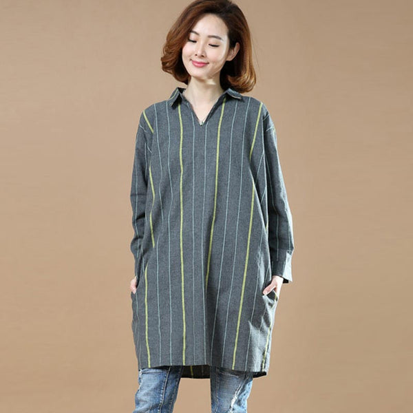 Spring Cotton Stripe Loose Women Shirt - Buykud