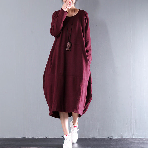 Women Casual Loose Woolen Dress - Buykud