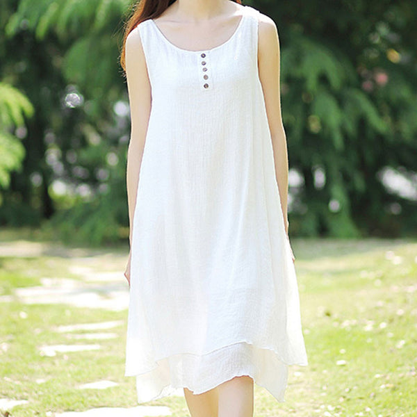 Folded Women Sweat Loose Round Neck Sleeveless Dress - Buykud