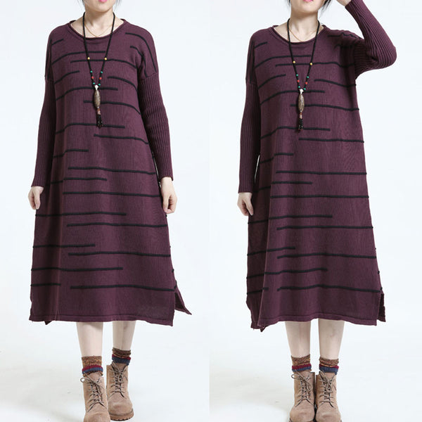 Loose Stripe Long Sweater Dark Red