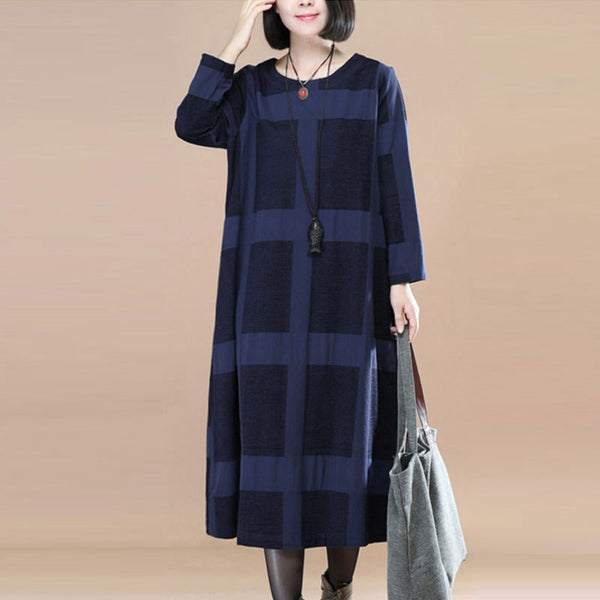 Literature Round Neck Long Sleeves Navy Blue Lattice Women Dress