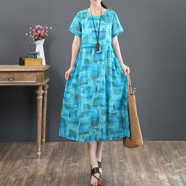 Retro Printing Loose Summer Short Sleeve Blue Dress