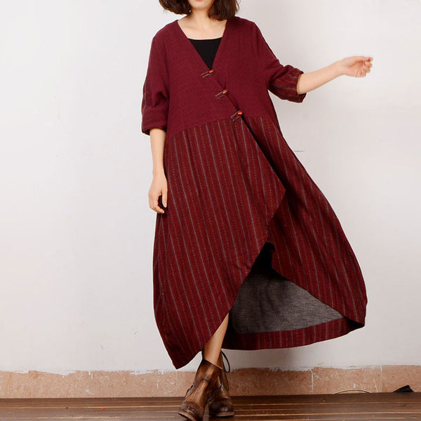 Cotton And Linen Women Irregular Frog Red Outerwear