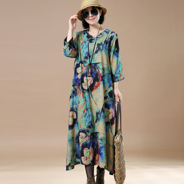 Women Retro Frog Printing Green Dress