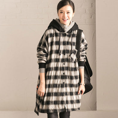 Women Casual Loose Winter Hooded Coat - Buykud