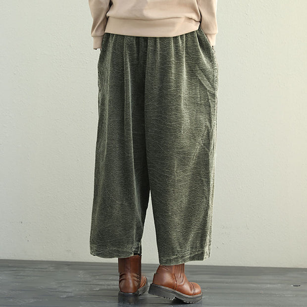 Casual Elastic Waist Loose Women Army Green Cotton Pants - Buykud