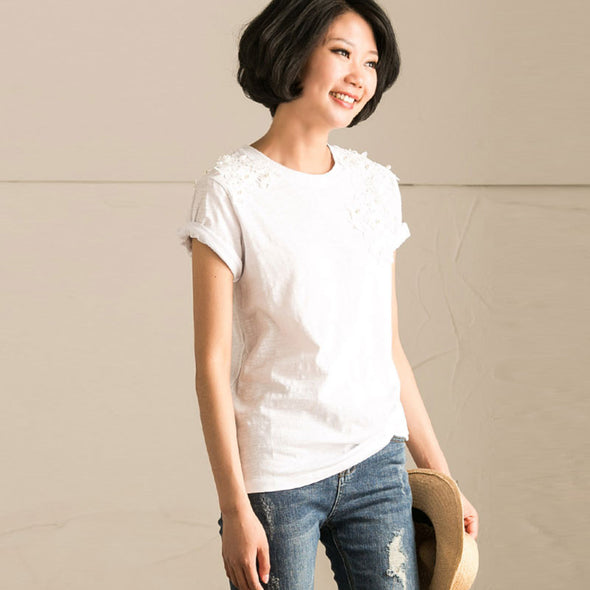 Splicing Beading Loose Women Embroidered Irregular Cotton White Shirt - Buykud