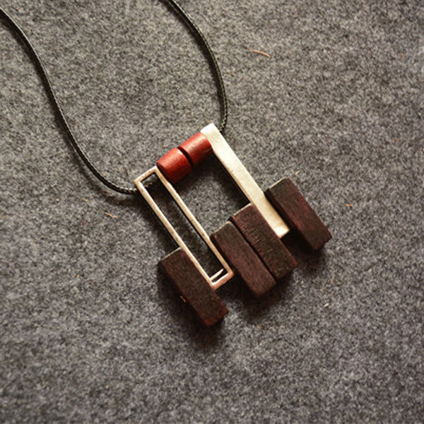 Women Wood Metal Retro Geometry Pendant Necklace - Buykud