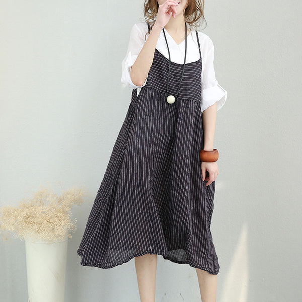 Exotic Loose Stripe Pocket Sleeveless Women Black Vest Dress - Buykud
