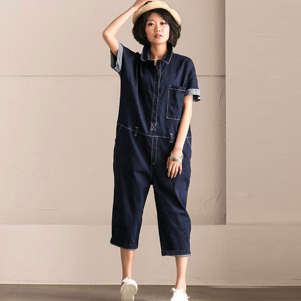 Women Cotton Loose Casual Pocket Jumpsuits