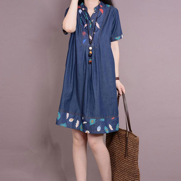 Women Short Sleeves Printing Blue Denim Dress - Buykud