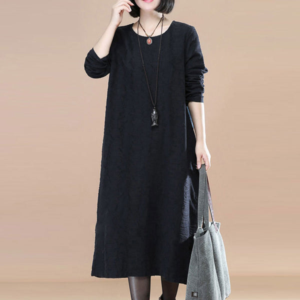 Long Sleeve Jacquard Women Round Neck Black Dress - Buykud