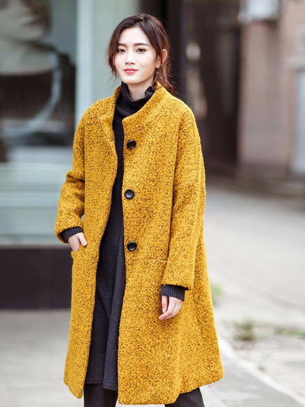 women yellow loose wool coat - Buykud